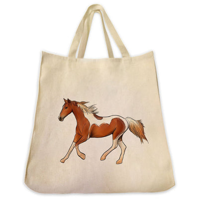 Re-usable Tote Bag - American Paint Horse Full Body Color Design Extra Large Eco Friendly Reusable Cotton Canvas Tote Bag