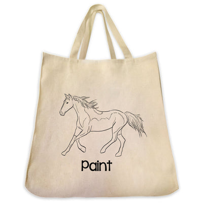 Re-usable Tote Bag - American Paint Horse Full Body Outline Design Extra Large Eco Friendly Reusable Cotton Canvas Tote Bag