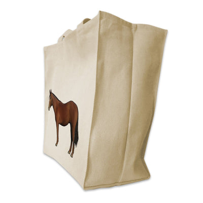 Re-usable Tote Bag - American Quarter Horse Full Body Color Design Extra Large Eco Friendly Reusable Cotton Canvas Tote Bag