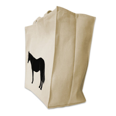 Re-usable Tote Bag - American Quarter Horse Full Body Silhouette Design Extra Large Eco Friendly Reusable Cotton Canvas Tote Bag