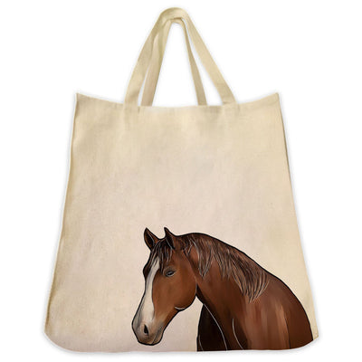 Re-usable Tote Bag - American Quarter Horse Portrait Color Design Extra Large Eco Friendly Reusable Cotton Canvas Tote Bag