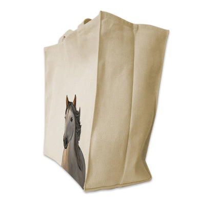 Re-usable Tote Bag - Andalusian Horse Portrait Color Design Extra Large Eco Friendly Reusable Cotton Canvas Tote Bag