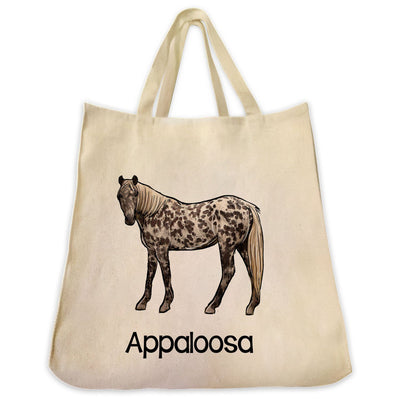 Re-usable Tote Bag - Appaloosa Horse Full Body Color Design Extra Large Eco Friendly Reusable Cotton Canvas Tote Bag