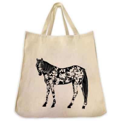 Re-usable Tote Bag - Appaloosa Horse Full Body Silhouette Design Extra Large Eco Friendly Reusable Cotton Canvas Tote Bag