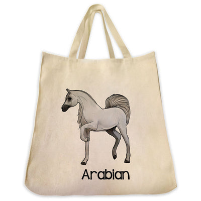 Re-usable Tote Bag - Arabian Horse Full Body Color Design Extra Large Eco Friendly Reusable Cotton Canvas Tote Bag