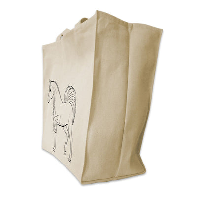 Re-usable Tote Bag - Arabian Horse Full Body Outline Design Extra Large Eco Friendly Reusable Cotton Canvas Tote Bag