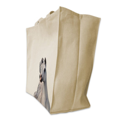 Re-usable Tote Bag - Arabian Horse Portrait Color Design Extra Large Eco Friendly Reusable Cotton Canvas Tote Bag