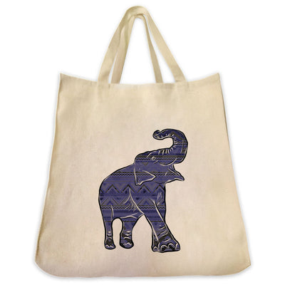 Re-usable Tote Bag - Asian Elephant Full Body Aztec Pattern Design Extra Large Eco Friendly Reusable Cotton Canvas Tote Bag