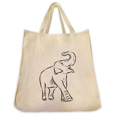 Re-usable Tote Bag - Asian Elephant Full Body Outline Design Extra Large Eco Friendly Reusable Cotton Canvas Tote Bag