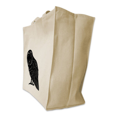 Re-usable Tote Bag - Barn Owl Full Body Silhouette Design Extra Large Eco Friendly Reusable Cotton Canvas Tote Bag