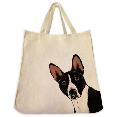 Re-usable Tote Bag - Basenji Dog Portrait Color Design Extra Large Eco Friendly Reusable Cotton Canvas Tote Bag