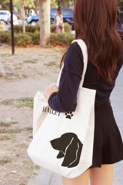 Re-usable Tote Bag - Basset Hound Portrait Silhouette Design Extra Large Eco Friendly Reusable Cotton Canvas Tote Bag