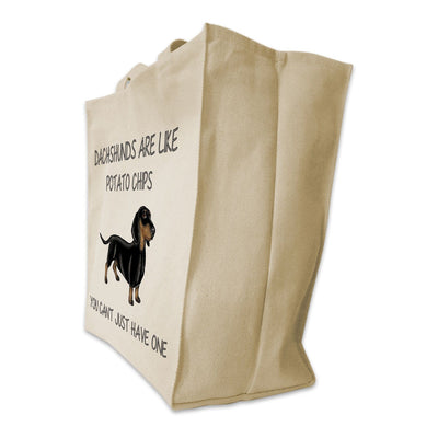 "Re-usable Tote Bag - Black And Tan Dachshund Color Full Body ""Dachshunds Are Like Potato Chips..."" Design Extra Large Eco Friendly Reusable Cotton Canvas Tote Bag"