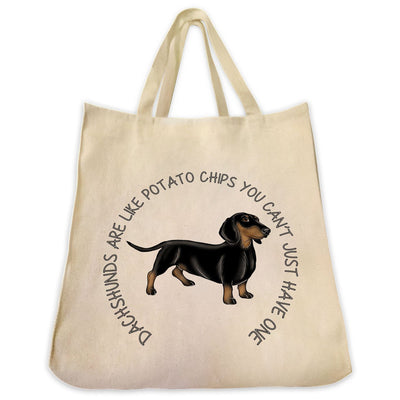 "Re-usable Tote Bag - Black And Tan Dachshund Color Full Body ""Dachshunds Are Like..."" Wrapped Text Design Extra Large Eco Friendly Reusable Cotton Canvas Tote Bag"