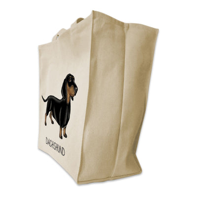Re-usable Tote Bag - Black And Tan Dachshund Color Full Body Design Extra Large Eco Friendly Reusable Cotton Canvas Tote Bag