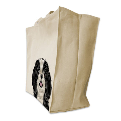 Re-usable Tote Bag - Black And White Coat Shih Tzu Portrait Color Design Extra Large Eco Friendly Reusable Cotton Canvas Tote Bag