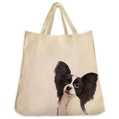 Re-usable Tote Bag - Black And White Papillon Dog Extra Large Eco Friendly Reusable Cotton Canvas Tote Bag