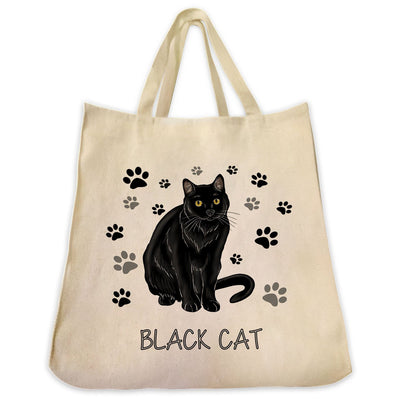 "Re-usable Tote Bag - Black Cat Color Full Body ""Black Cat"" Design Extra Large Eco Friendly Reusable Cotton Canvas Tote Bag"