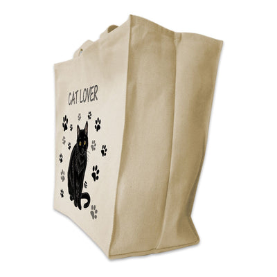 "Re-usable Tote Bag - Black Cat Color Full Body ""Cat Lover"" Design Extra Large Eco Friendly Reusable Cotton Canvas Tote Bag"