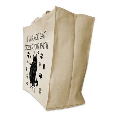 "Re-usable Tote Bag - Black Cat Color Full Body ""If A Black Cat Crosses Your Path..."" Design Extra Large Eco Friendly Reusable Cotton Canvas Tote Bag"