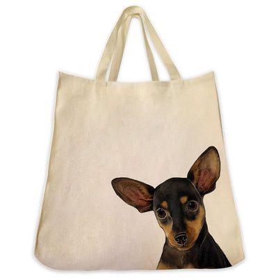 Re-usable Tote Bag - Black Chihuahua Dog Extra Large Eco Friendly Reusable Cotton Canvas Tote Bag