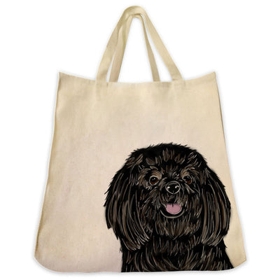Re-usable Tote Bag - Black Coat Shih Tzu Extra Large Eco Friendly Reusable Cotton Canvas Tote Bag