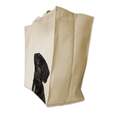 Re-usable Tote Bag - Black Puggle Dog Extra Large Cotton Extra Large Eco Friendly Reusable Cotton Canvas Tote Bag