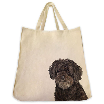 Re-usable Tote Bag - Black Schnoodle Dog Extra Large Eco Friendly Reusable Cotton Canvas Tote Bag