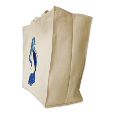 Re-usable Tote Bag - Blue Mermaid Color Full Body Design Extra Large Eco Friendly Reusable Cotton Canvas Tote Bag