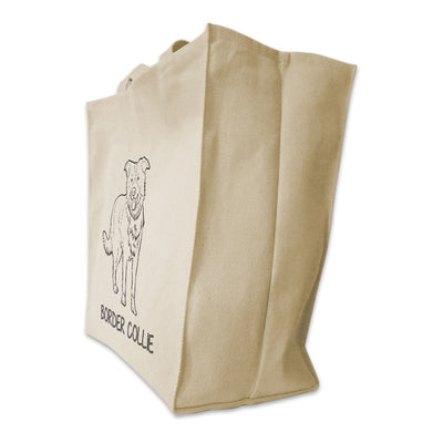 Re-usable Tote Bag - Border Collie Outline Full Body Design Extra Large Eco Friendly Reusable Cotton Canvas Tote Bag