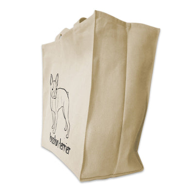 Re-usable Tote Bag - Boston Terrier Dog Outline Design Extra Large Eco Friendly Reusable Cotton Canvas Tote Bag