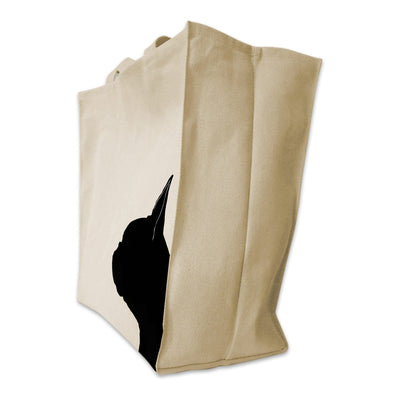 Re-usable Tote Bag - Boston Terrier Silhouette Extra Large Eco Friendly Reusable Cotton Canvas Tote Bag