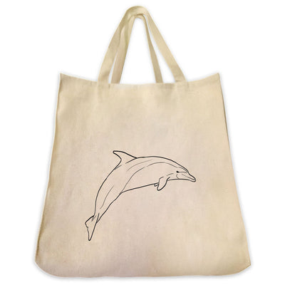 Re-usable Tote Bag - Bottlenose Dolphin Outline Design Extra Large Eco Friendly Reusable Cotton Canvas Tote Bag