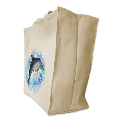 Re-usable Tote Bag - Bottlenose Dolphin With Ocean Background Design Extra Large Eco Friendly Reusable Cotton Canvas Tote Bag