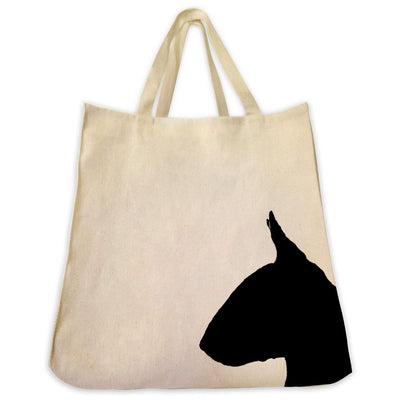 Re-usable Tote Bag - Bull Terrier Silhouette Extra Large Eco Friendly Reusable Cotton Canvas Tote Bag