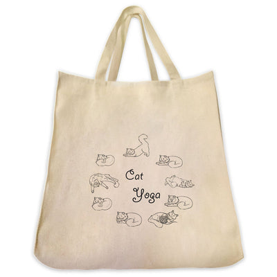Re-usable Tote Bag - Cat Yoga Outline Design Extra Large Eco Friendly Reusable Cotton Canvas Tote Bag