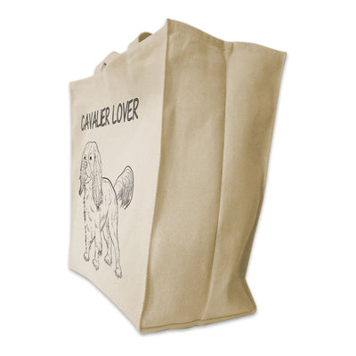 "Re-usable Tote Bag - Cavalier King Charles Outline Full Body ""Cavalier Lover"" Design Extra Large Eco Friendly Reusable Cotton Canvas Tote Bag"