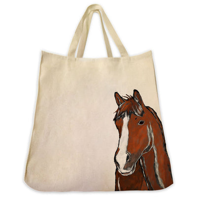 Re-usable Tote Bag - Chesnut Horse Extra Large Eco Friendly Reusable Cotton Canvas Tote Bag
