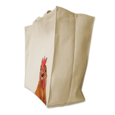 Re-usable Tote Bag - Chicken Color Portrait Design Extra Large Eco Friendly Reusable Cotton Canvas Tote Bag