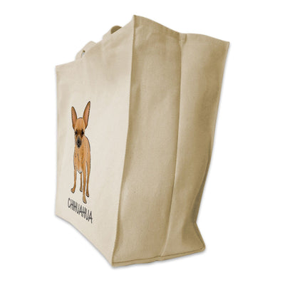 Re-usable Tote Bag - Chihuahua Dog Color Full Body Design Extra Large Eco Friendly Reusable Cotton Canvas Tote Bag