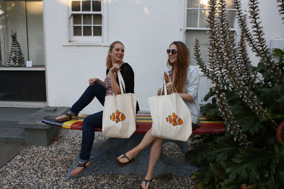 Re-usable Tote Bag - Clownfish Extra Large Eco Friendly Reusable Cotton Canvas Tote Bag