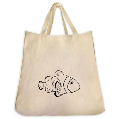 Re-usable Tote Bag - Clownfish Outline Design Extra Large Eco Friendly Reusable Cotton Canvas Tote Bag