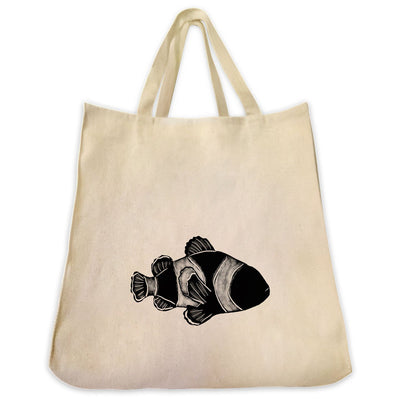 Re-usable Tote Bag - Clownfish Silhouette Design Extra Large Eco Friendly Reusable Cotton Canvas Tote Bag