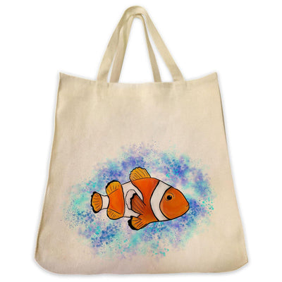 Re-usable Tote Bag - Clownfish With Ocean Background Design Extra Large Eco Friendly Reusable Cotton Canvas Tote Bag