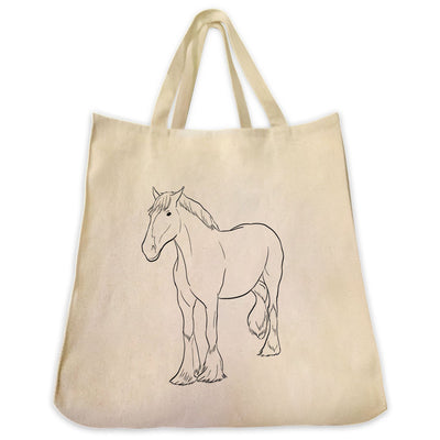 Re-usable Tote Bag - Clydesdale Horse Outline Design Extra Large Eco Friendly Reusable Cotton Canvas Tote Bag