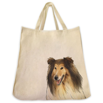 Re-usable Tote Bag - Collie Dog Extra Large Eco Friendly Reusable Cotton Canvas Tote Bag