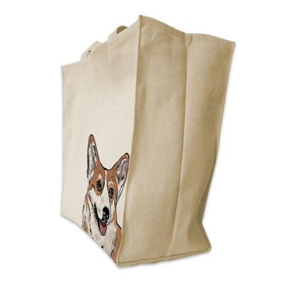 Re-usable Tote Bag - Corgi Color Portrait Design Extra Large Eco Friendly Reusable Cotton Canvas Tote Bag