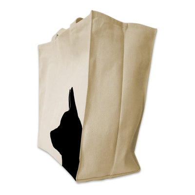 Re-usable Tote Bag - Corgi Silhouette Extra Large Eco Friendly Reusable Cotton Canvas Tote Bag