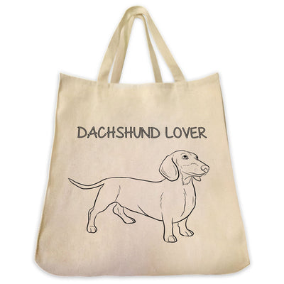 "Re-usable Tote Bag - Dachshund Outline Full Body ""Dachshund Lover"" Design Extra Large Eco Friendly Reusable Cotton Canvas Tote Bag"