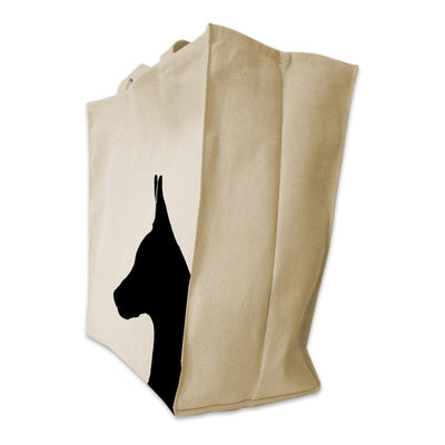 Re-usable Tote Bag - Doberman Pinscher Silhouette Portrait Design Extra Large Eco Friendly Reusable Cotton Canvas Tote Bag